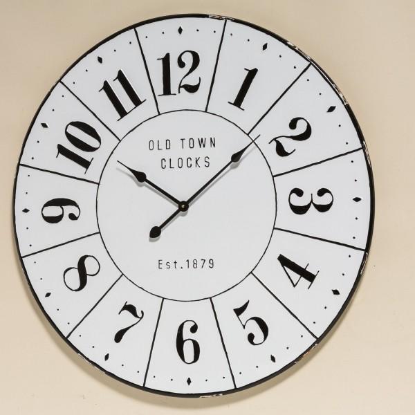 Große Vintage Wanduhr Trinity D83cm Weiß Metall Schwarz Uhr