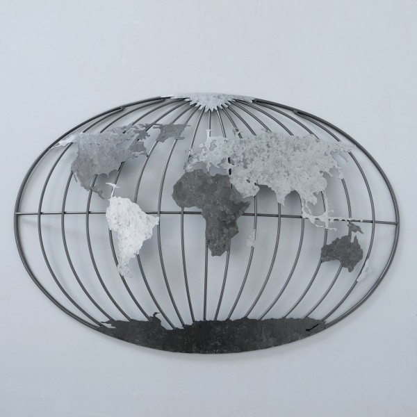 XL Wandobjekt Erde 110cm Silber Grau Oval Wanddeko Welt Dekoration Bild Wanddeko
