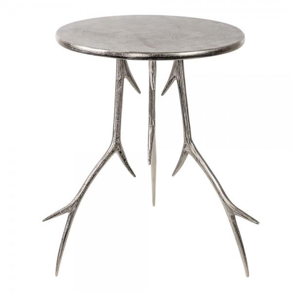 Beistelltisch Geweih 63cm Silber Metall Aluminium Tisch Hirschgeweih