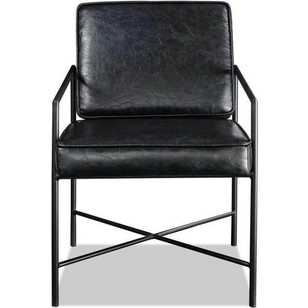 Stuhl Schwarz Leder Sessel 80cm Metall Clubsessel Ledersessel
