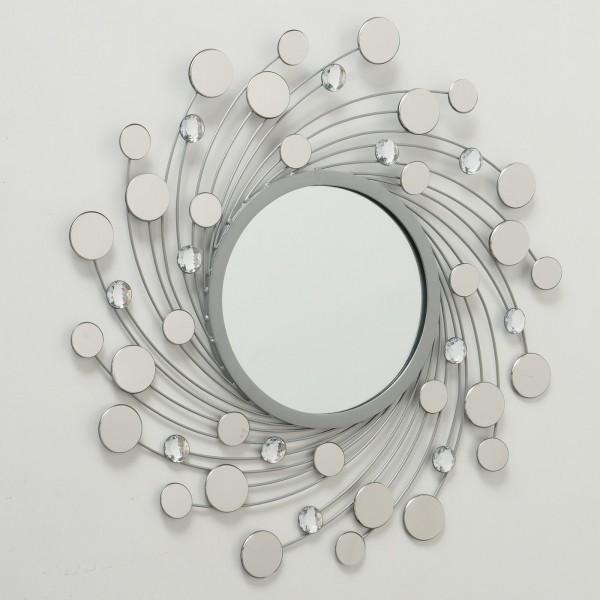 XL Wandspiegel Ruben 75cm rund Kristalle Metall Silber Spiegel