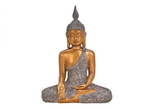 Buddha Gold 43cm sitzend Grau Figur Modell Mönch Statue Buddhafigur