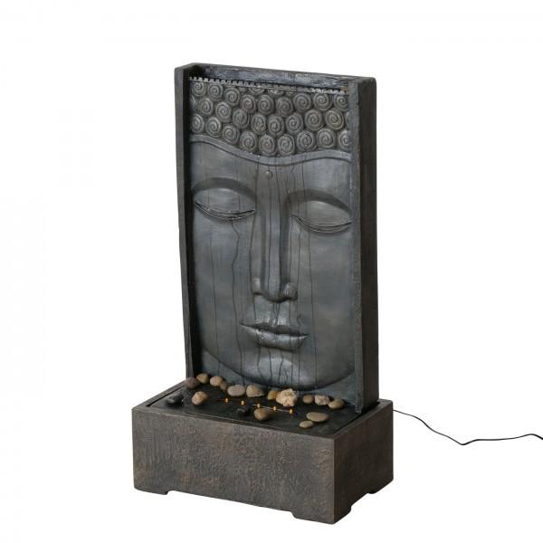 XXL Brunnen Buddha 90cm Grau Braun Buddhakopf Brunnenbuddha