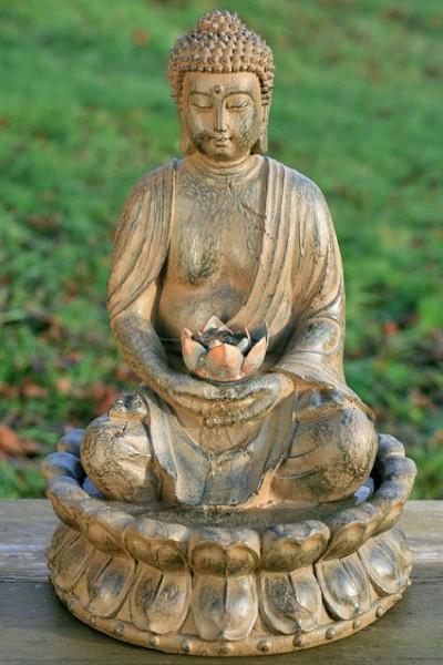 Brunnen Buddha 52cm Braun Grau Brunnenbuddha Figur Modell Pumpe Licht Mönch
