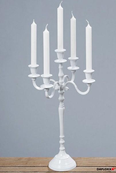 50cm Kerzenleuchter weiss 5er Metall Kerzenständer Kerzenhalter Kandelaber weiß