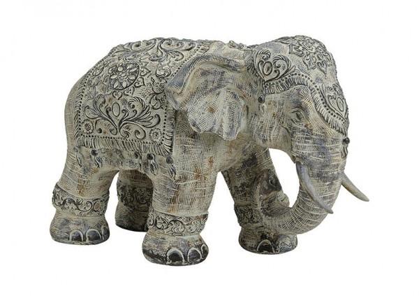 XL indischer Elefant 40cm Grau Stein Optik Indien Afrika Figur Elephant Modell