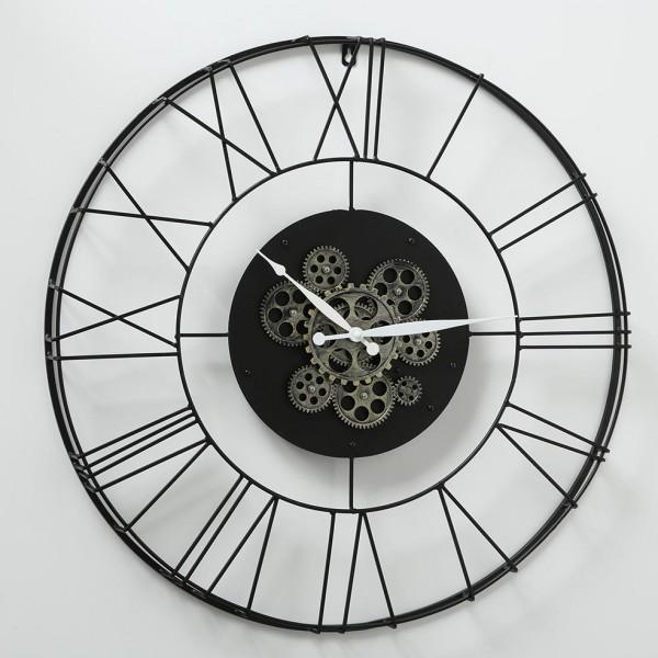 Große ausgefallene Wanduhr Clarion D70cm Eisen Metall Schwarz Uhrwerk Uhr
