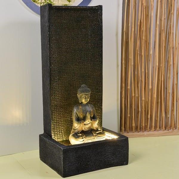 XXL Brunnen Buddha 100cm Grau Buddhakopf Brunnenbuddha Feng Shui