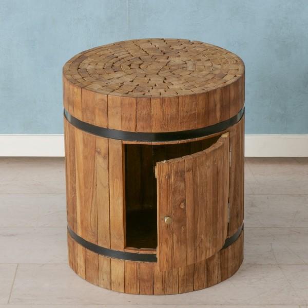 Hocker Sago Holzfass Braun Fass Sitzhocker Beistelltisch Holz Tisch