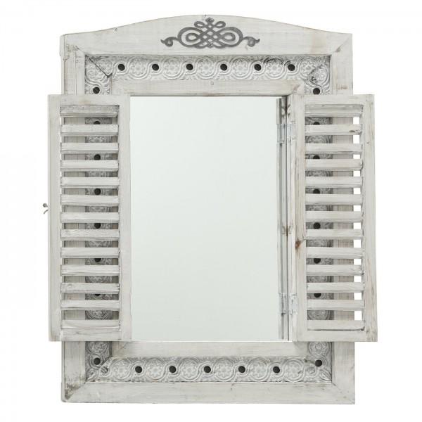 Edler Wandspiegel Lindsay Fenster grau Fensterläden Spiegel Holz Landhaus