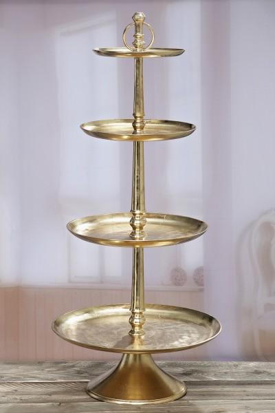 XXL Etagere 117cm Mayla 4 Etagen Kuchenplatte Gold Metall