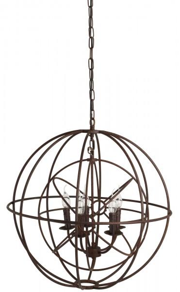 Deckenlampe Ruggiero 73cm Braun Globus Kugel Käfig Hängelampe Kronleuchter Lampe