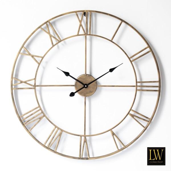 XL große Wanduhr 80cm Olivier Gold Metall Rom Uhr Wand Italien