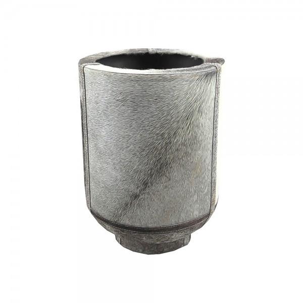 Edle Vase Kuhfell 35cm Grau Fell Blumenvase Übertopf Kuhfellvase Dekovase