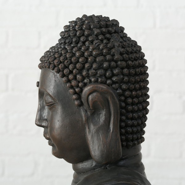 Riesiger Buddha 150cm Rimy Braun Steinoptik Buddhafigur Mönch Figur Feng Shui