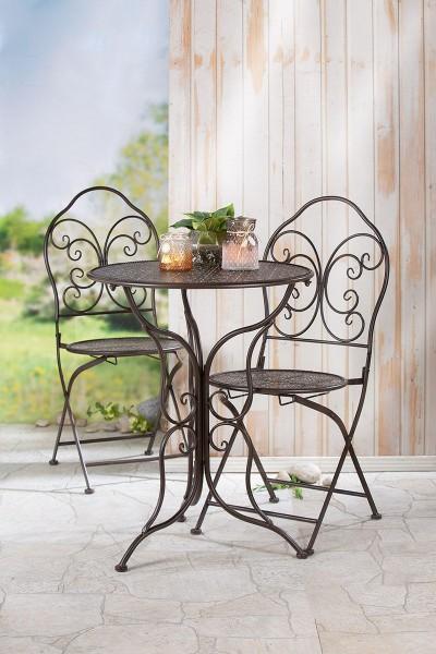 Tisch Set 2 Stühle Mandala Casablanca Gartentisch Braun Gartenstuhl Garten Stuhl