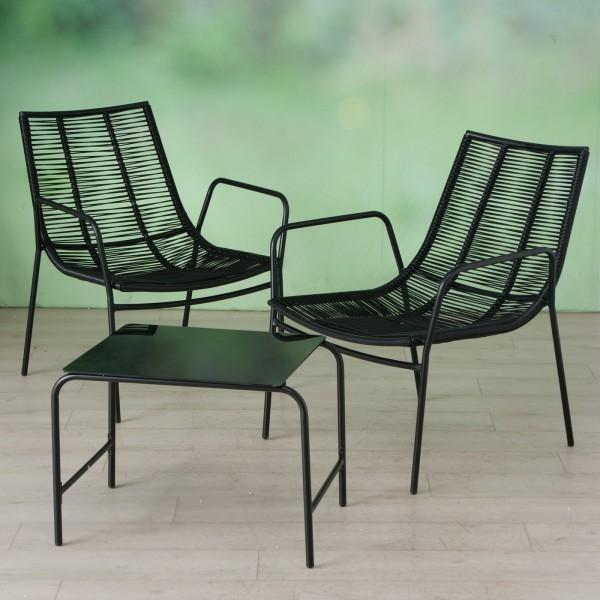 Tisch Set 2 Stühle Kendo Gartentisch Schwarz Rattan Seile Gartenstuhl Garten Stuhl