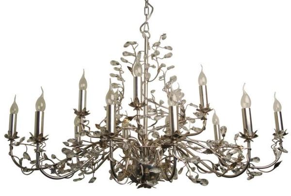 Kronleuchter Evita Silber Chrom 15er 120cm Metall Kristalle Blatt Ast