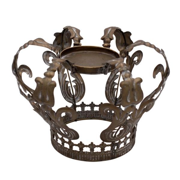 Edler Kerzenleuchter Crown Braun Grau Aluminium Krone Kerzenhalter König