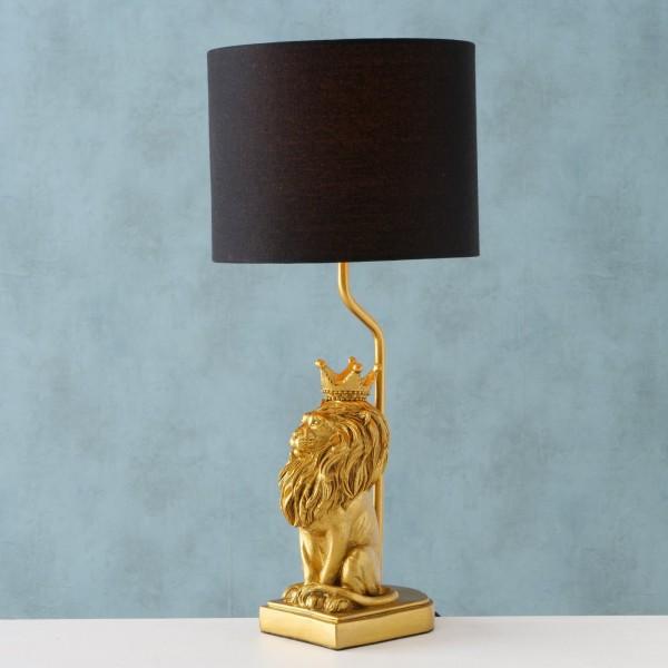 Geniale Tischlampe Löwe König Gold Schwarz 51cm Mönch Lampe Tischleuchte