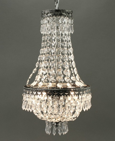 KRONLEUCHTER KRISTALL 50cm HÖHE 2 FLAMMIG DECKENLAMPE LAMPE
