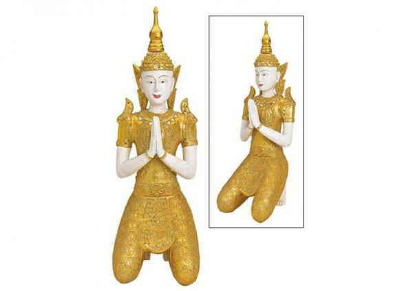 Buddha Gold 74cm kniend Figur Modell Mönch Statue Buddhafigur