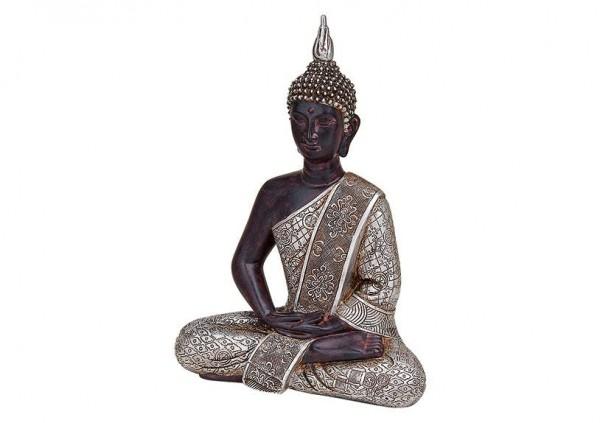 Edler Buddha 30cm Silber Antik Figur Modell Braun Mönch Buddhafigur Statue