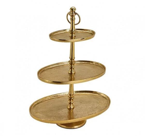 Ovale Etagere Gold 50cm vernickelt oval Gebäckschale Kuchenplatte