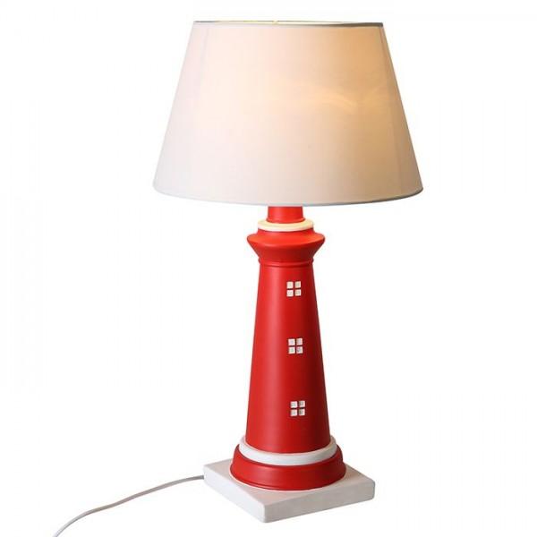 Tischlampe Leuchtturm 61cm Casablanca Weiß Rot Schirm Lampe weiss Tischleuchte