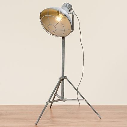 Studiolampe 155cm Grau Eisen Dreibein Schirm Stehlampe Lampe Strahler