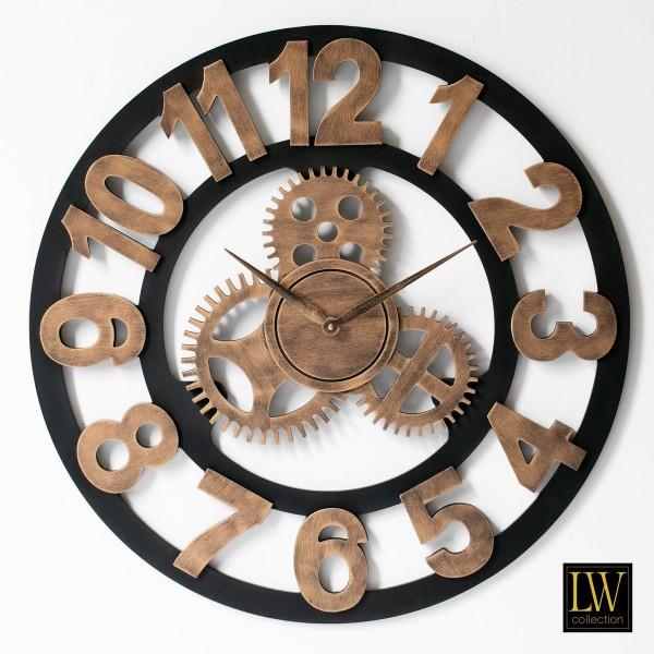 Wanduhr Industrie Holz 80cm Braun Zahnräder Uhr Wand Industry
