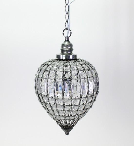Deckenlampe Orient 23x40cm Lampe Kristall Kristallleuchter Tropfen klar rund