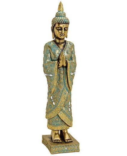 Buddha 55cm stehend Gold Grün Figur Modell Mönch Statue Buddhafigur