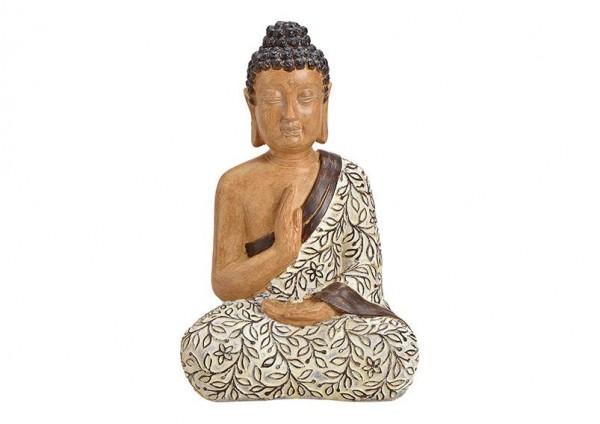 Buddha 40cm Holz Braun Beige Holzoptik Figur Modell Mönch Statue