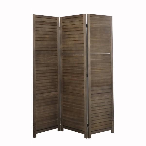 Paravent Braun Holz Raumteiler Mangoholz Trennwand Landhaus
