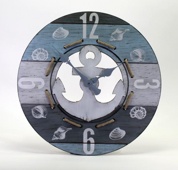 Wanduhr Nautik 60cm Blau Weiss Tau Anker Maritim Muscheln Uhr