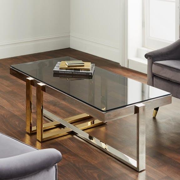 Couchtisch Silber Gold Glas Chrom Metall Tisch Beistelltisch