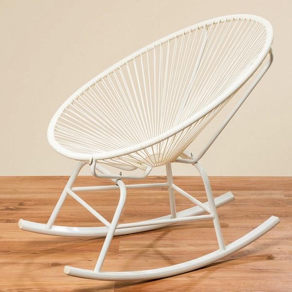 Schaukelstuhl Eddy Acapulco Papasansessel Gartensessel Weiß Sessel Seile
