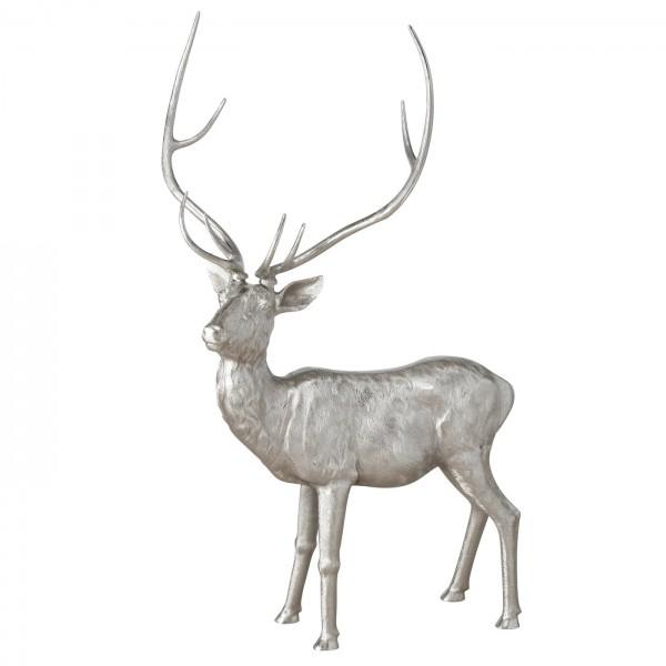 Riesiger XXXL Hirsch 210cm Silber Reh Rentier Figur Modell Skulptur Aluminium Alu Deko Tier