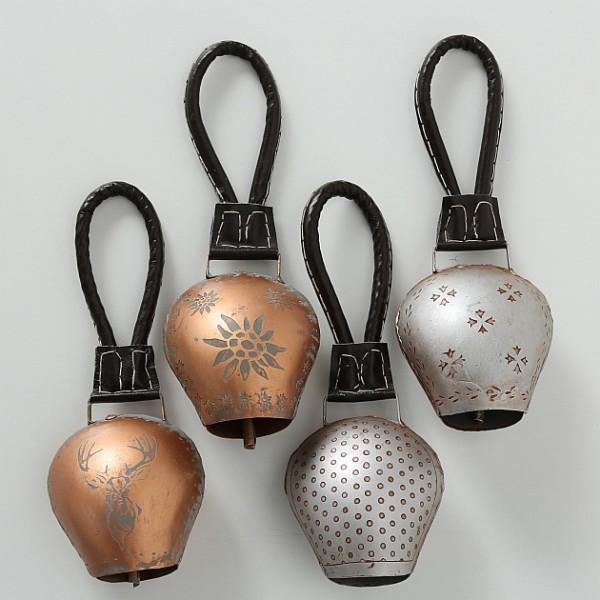 4er Kuhglocke Set Dekoration Gold Silber Ziegenschelle Glocke Deko Wand Ziegenglocke
