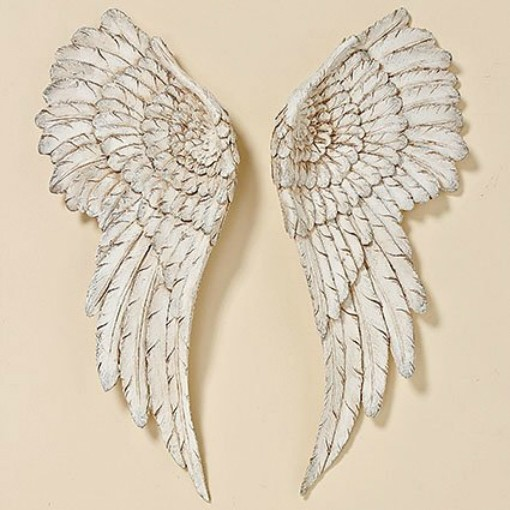 Wanddeko Engelsflügel 2 Stück Antik Weiß 55x22cm Flügel Engel Dekoration