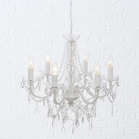 Edler Kronleuchter Allison Antik Weiß 6 flammig klar Lampe Barock