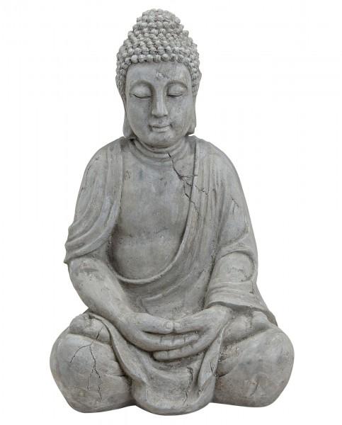 Genialer Buddha 50cm in Grau aus Magnesia Figur Modell Mönch Garten