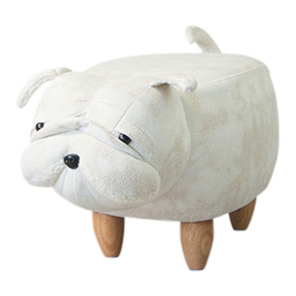 Ausgefallener Hocker Bulldogge Hund 60cm Weiß Sitzhocker ...