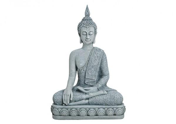 Sitzender Buddha 40cm Grau Figur Modell Marmor Mönch Buddhafigur Statue