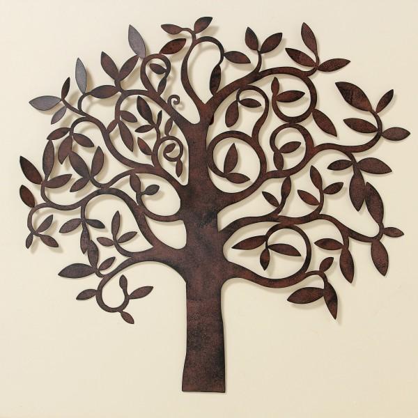 Wand Dekoration Baum 71cm Braun Eisen Wanddeko Baumdekoration