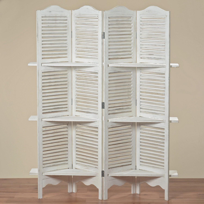 paravent mit regal jive 180x140x30 cm shabby weiss 4 teilig holz dafloxx versand. Black Bedroom Furniture Sets. Home Design Ideas