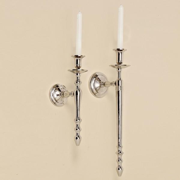 Wand Kerzenleuchter 32cm Höhe vernickelt Silber Wandkerzenhalter