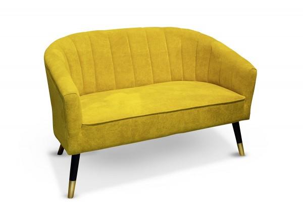 Edles Sofa Modell Sole Curry Casablanca 128cm Samt Couch Gelb Loungesofa