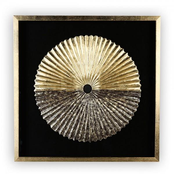 Wandbild Plato 80x80cm Casablanca Gold Glas Ornament plastisch 3D Bild